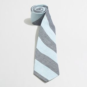 J. CREW Linen Cotton Diagonal Stripe Narrow Tie T5